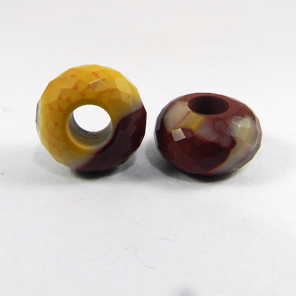 Mookaite Jasper Roundel Facet Big Hole Beads For Bracelet Making