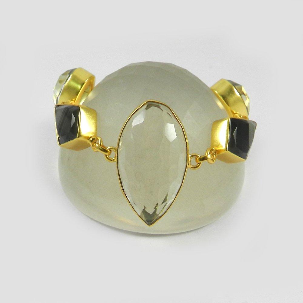 Morris Banded Agate,Crystal Quartz Gold Plated Designer Link Chain Bracelet