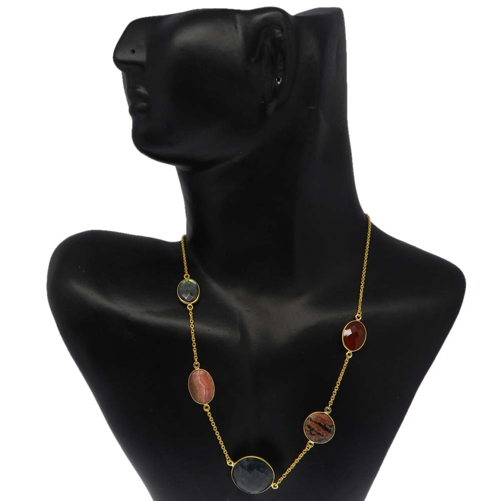 Moss Agate,Rhodochrosite,Labradorite,Obsidian Gold Plated Long Chain Necklace