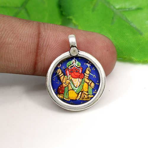 Most Elegant Collection Lord Ganesha Painting Pendant 925 Sterling Silver Jewelry Circular Temple Jewelry Hindu Deity Pendant