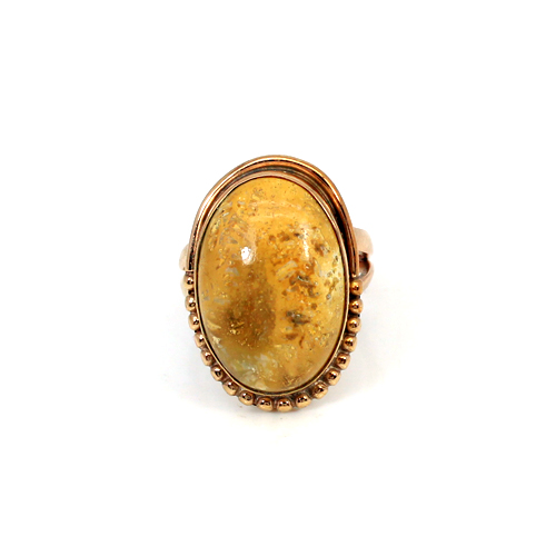 Most Elegant Collection Natural Fossil Coral Gemstone Ring Oval Cabochon Rings Brass Rose Gold Plated Double Band Designer Ring