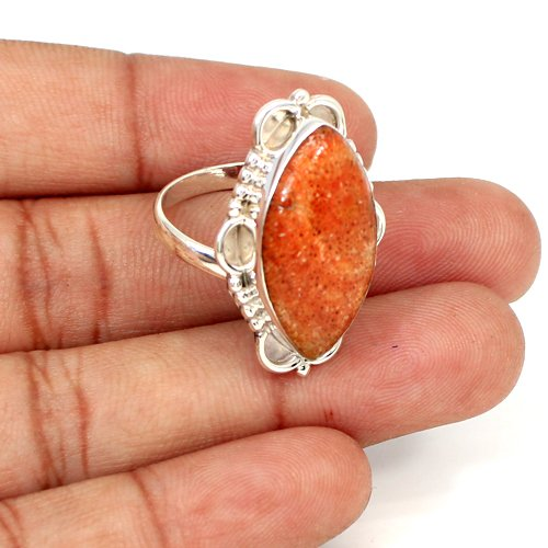 Most Elegant Collection Natural Sponge Coral Gemstone Ring Solid 925 Sterling Silver Rings Marquise Cabochon Designer Women Ring
