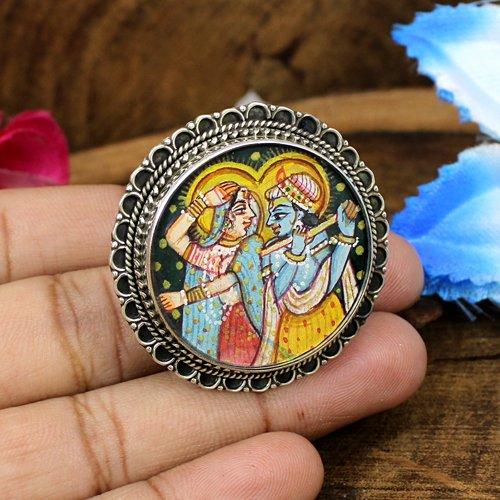 Most Elegant Lord Radha Krishna Painting Ring Circular Adjustable Ring Oxidized 925 Sterling Silver Rings Handmade Unusual Ring