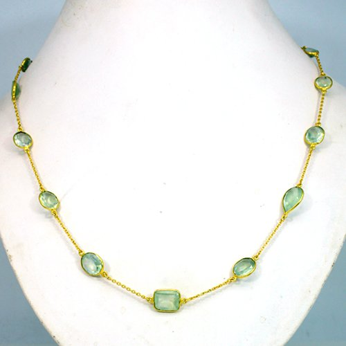 Most Elegant Natural Prehnite Gemstone Necklace Gold Plated Chain Necklace Spiritual Necklace