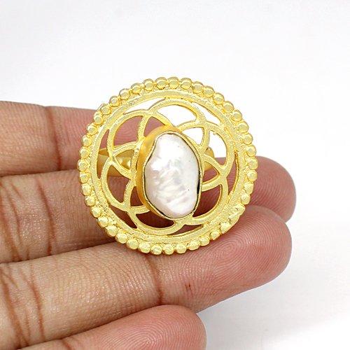 Most Elegant Selling Baroque Pearl Gemstone Ring Brass Gold Plated Ring Boho Designer Birthday Gift Rings Gift for Her