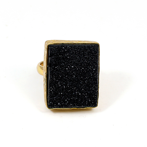 Most Exotic Collection Black Druzy Ring Brass Vermeil Jewelry Gypsy Handmade Huge Ring Wedding Engagement Ring Gift Jewelry
