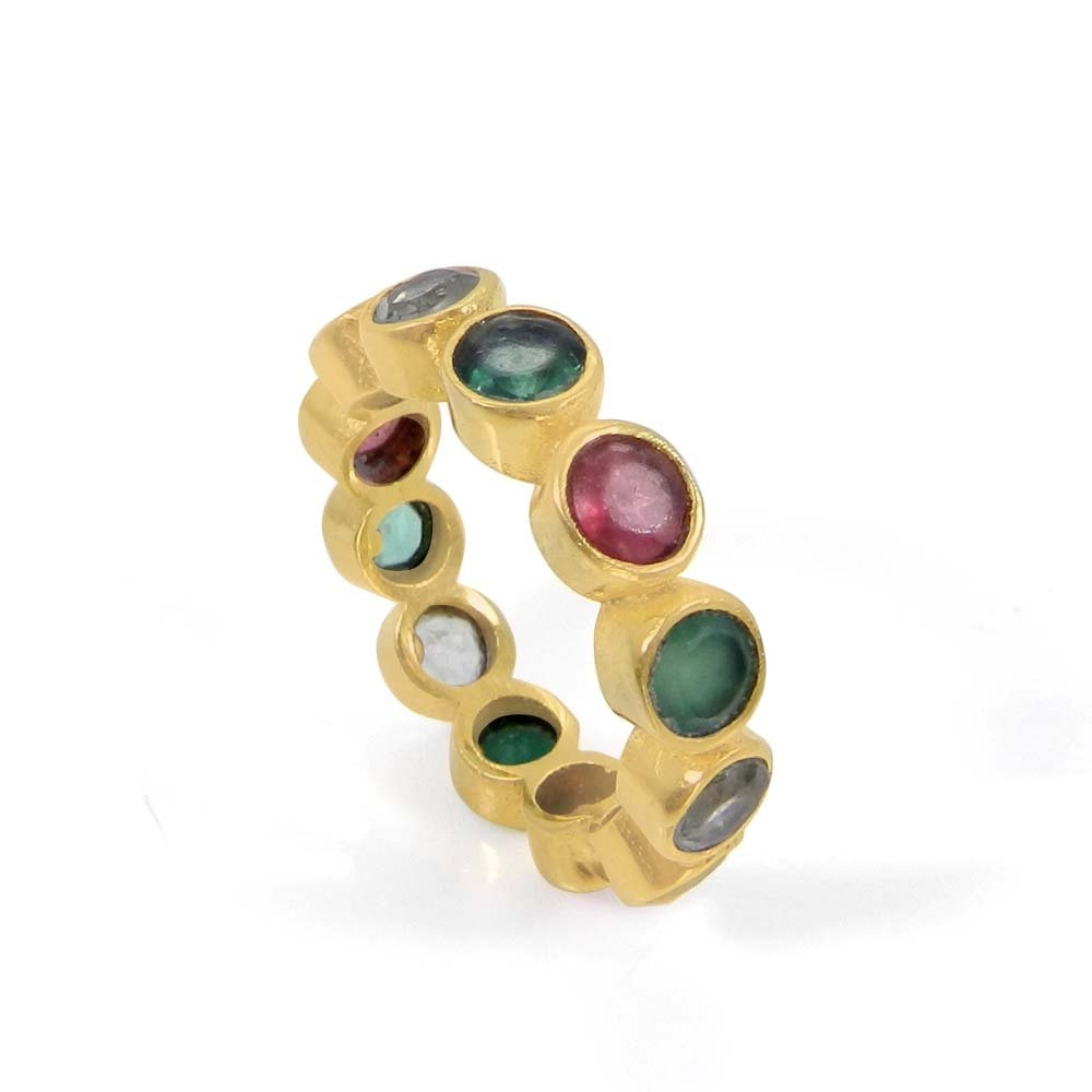Multi Color Gemstones Gold Plated Eternity Ring