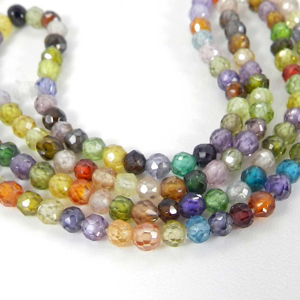 Multi Cubic Zircon 2mm Roundel Facet Gemstone Strand Beads