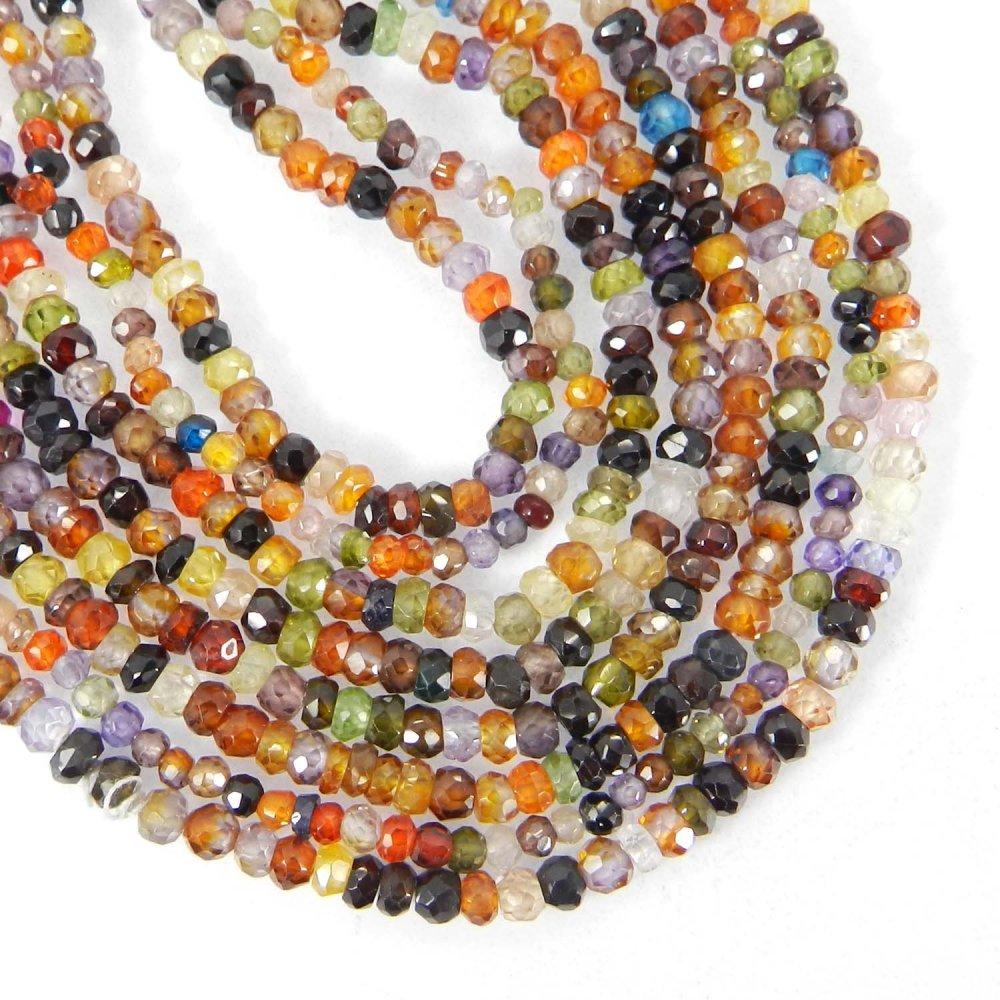 Multi Cubic Zircon 3mm Roundel Facet Gemstone Strand Beads