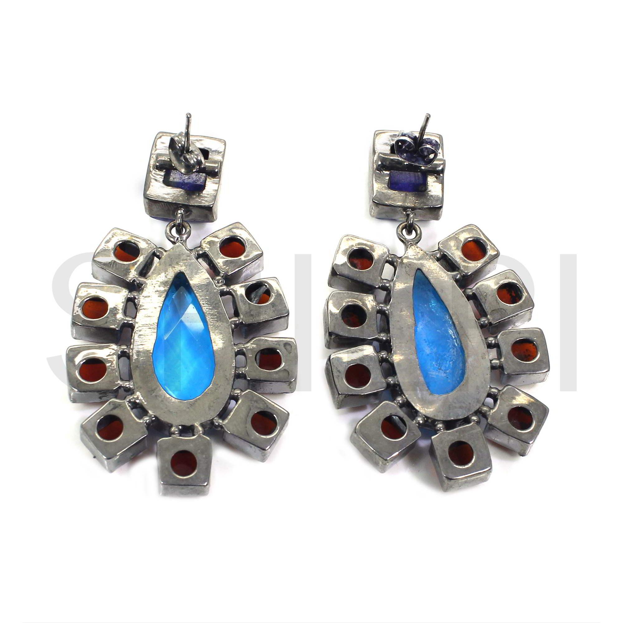 Multi Gemstone Black Ruthenium Plated Stud Earrings