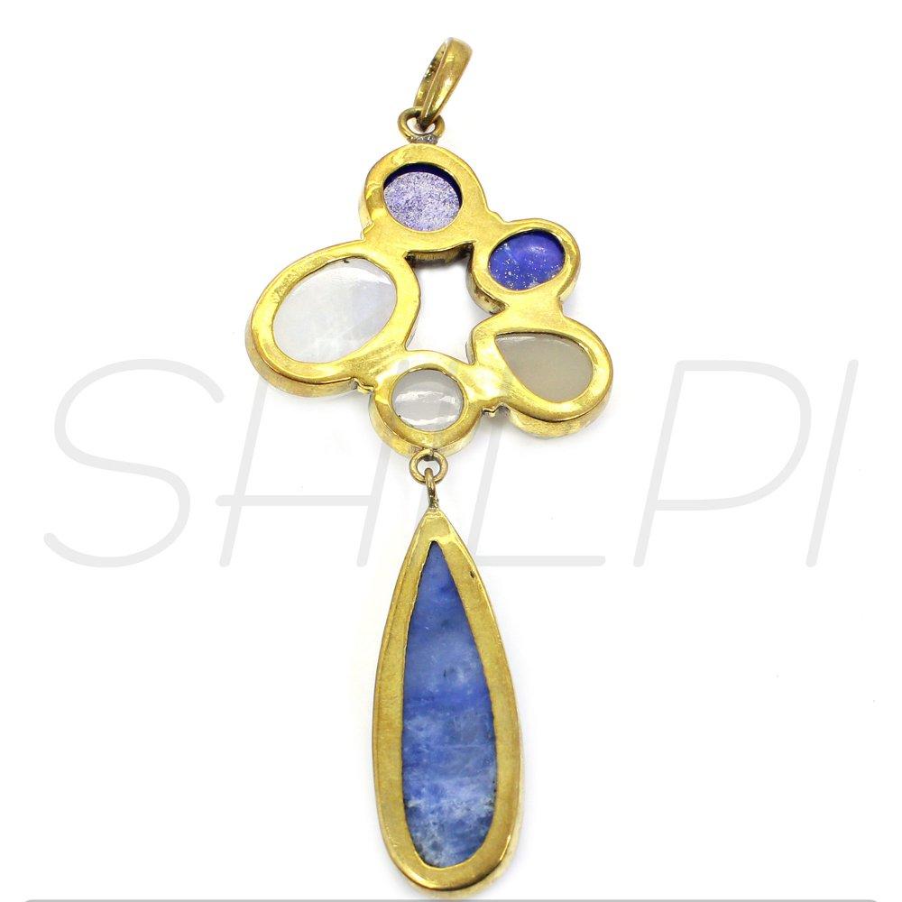 Multi Gemstone Gold Plated Designer Pendant