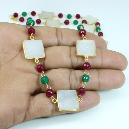 Multi Stone Necklace Solid 925 Sterling Silver Necklace Gold Plated Women Necklace
