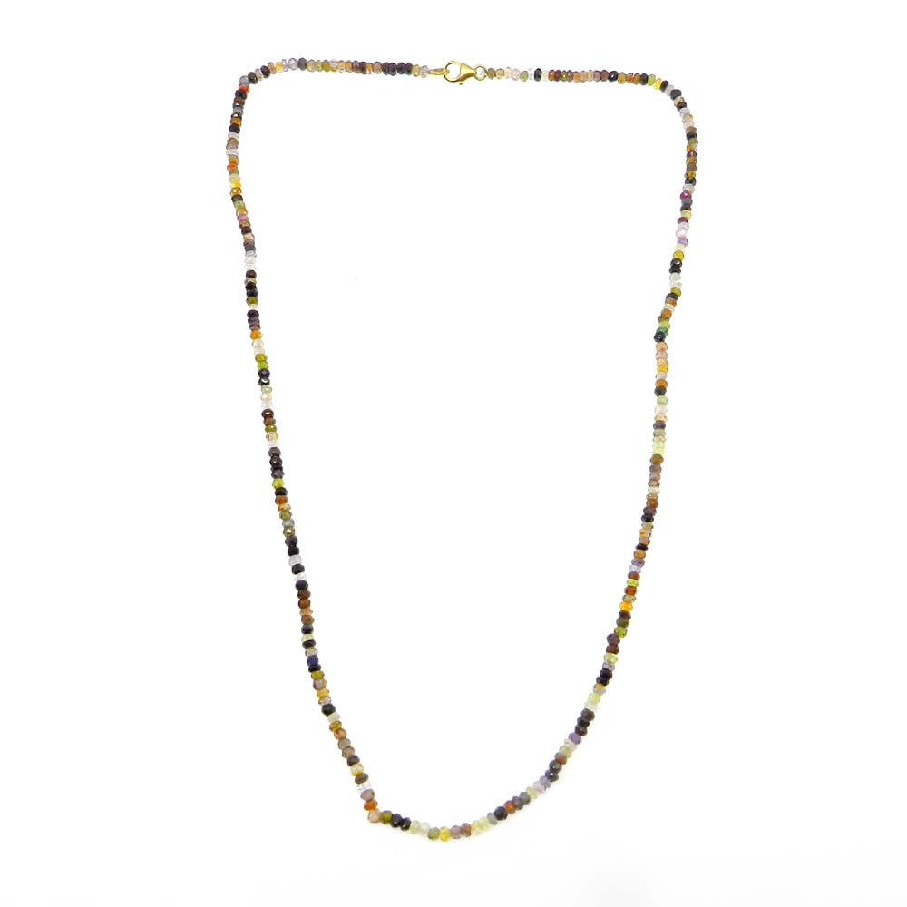 Multi Tourmaline Faceted Beaded 925 Sterling Silver 18 inch Long Necklace