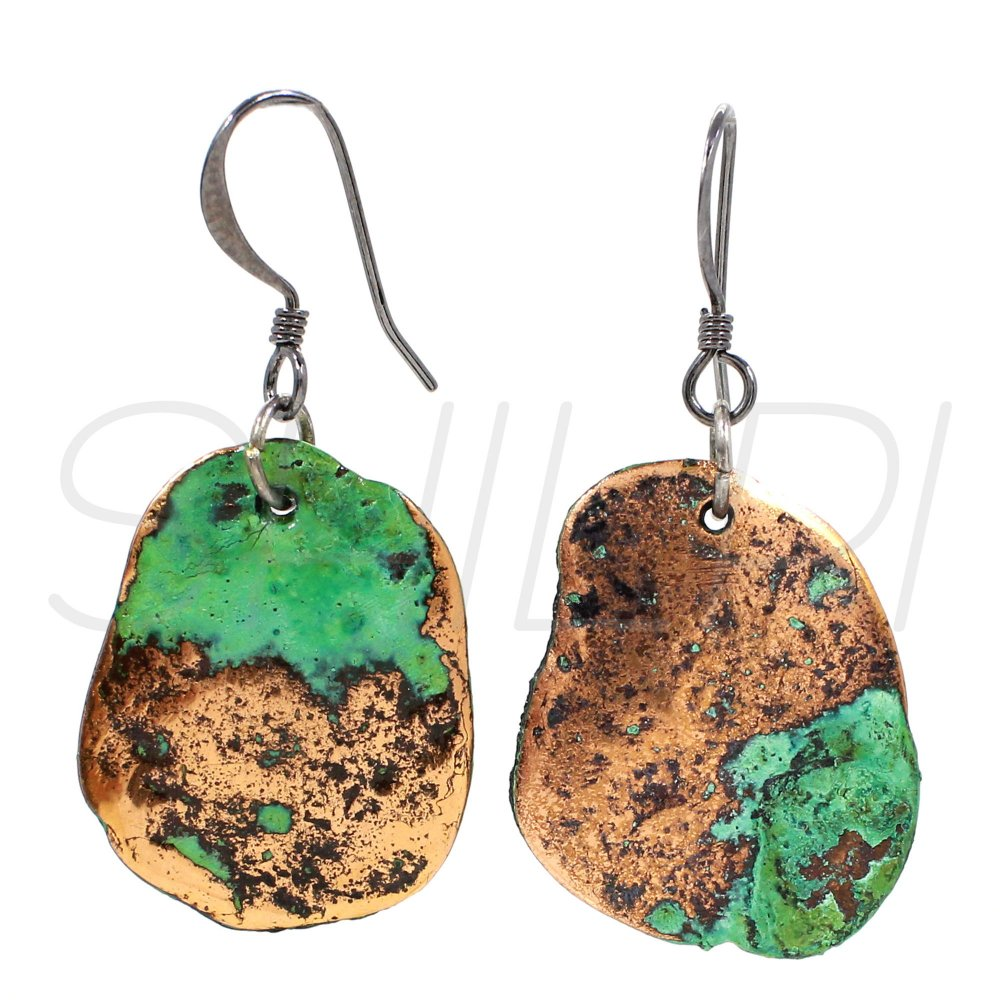 Native Copper Black Ruthenium Plated Handcrafted Dangle Earring