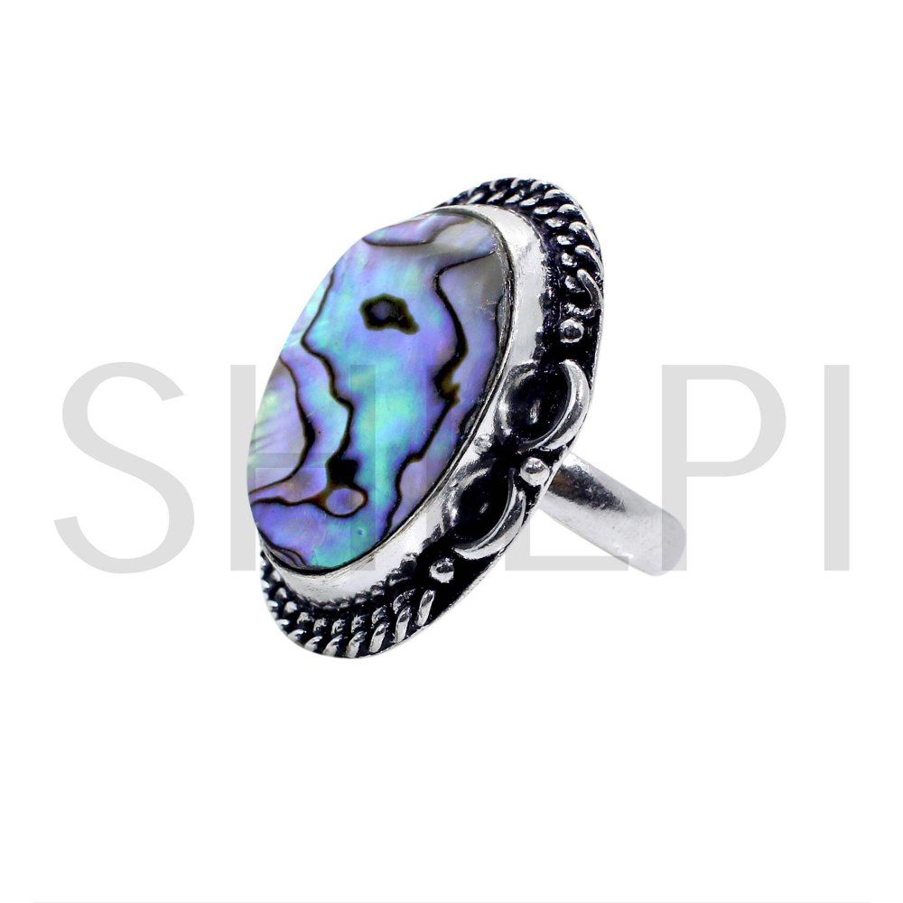 Natural Abalone Shell Oxidized 925 Sterling Silver Designer Ring