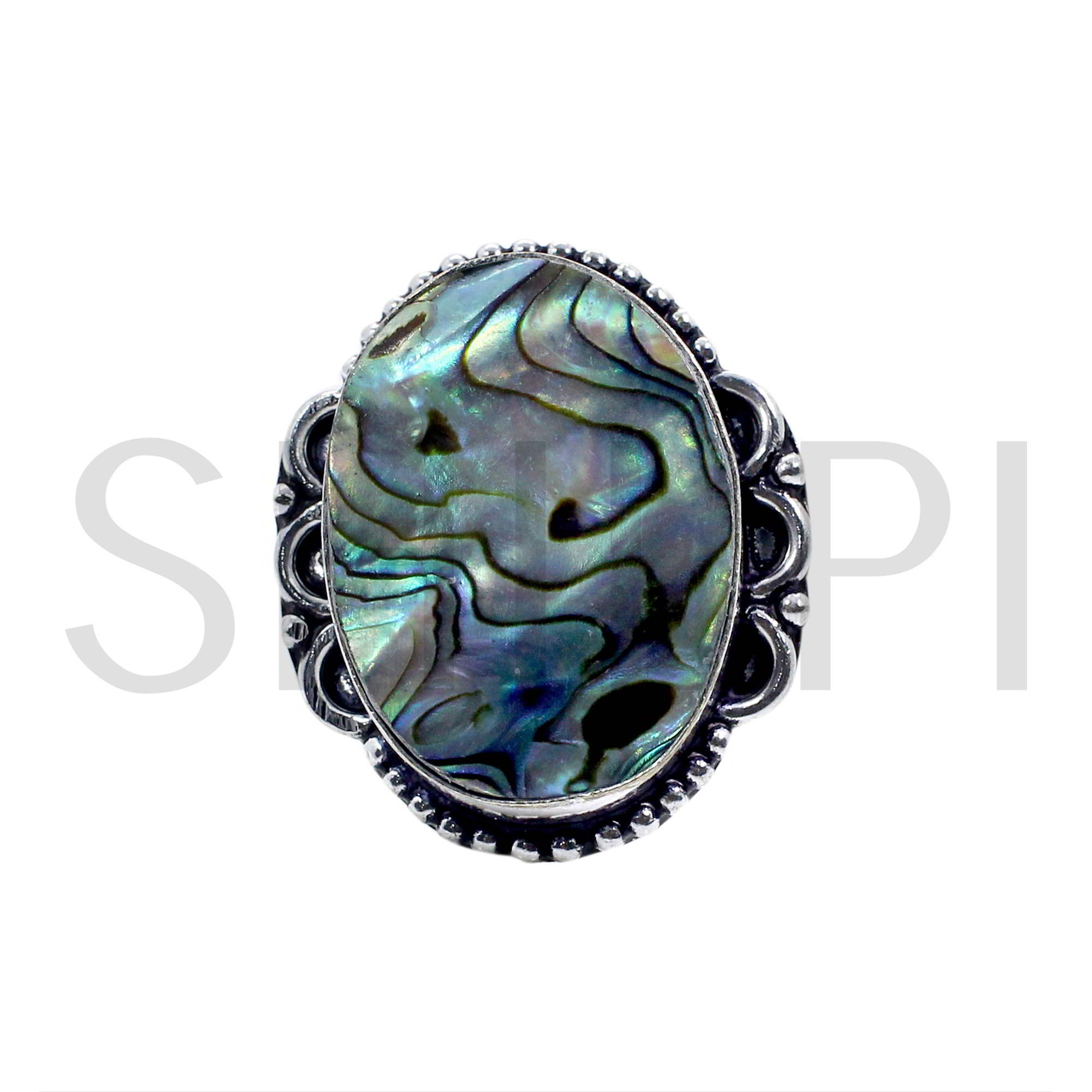 Natural Abalone Shell Oxidized 925 Sterling Silver Handmade Ring