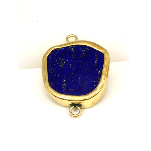 Natural Afghani Lapis Lazuli Gemstone Connector Brass Gold Plated Double Loop Connector For Jewelry Making