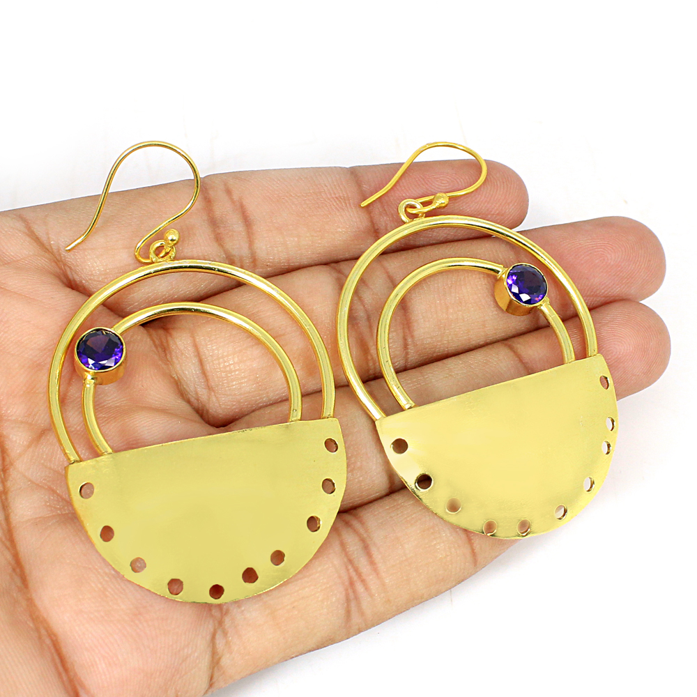 Natural African Amethyst Gemstone Brass Vermeil  Designer Earring