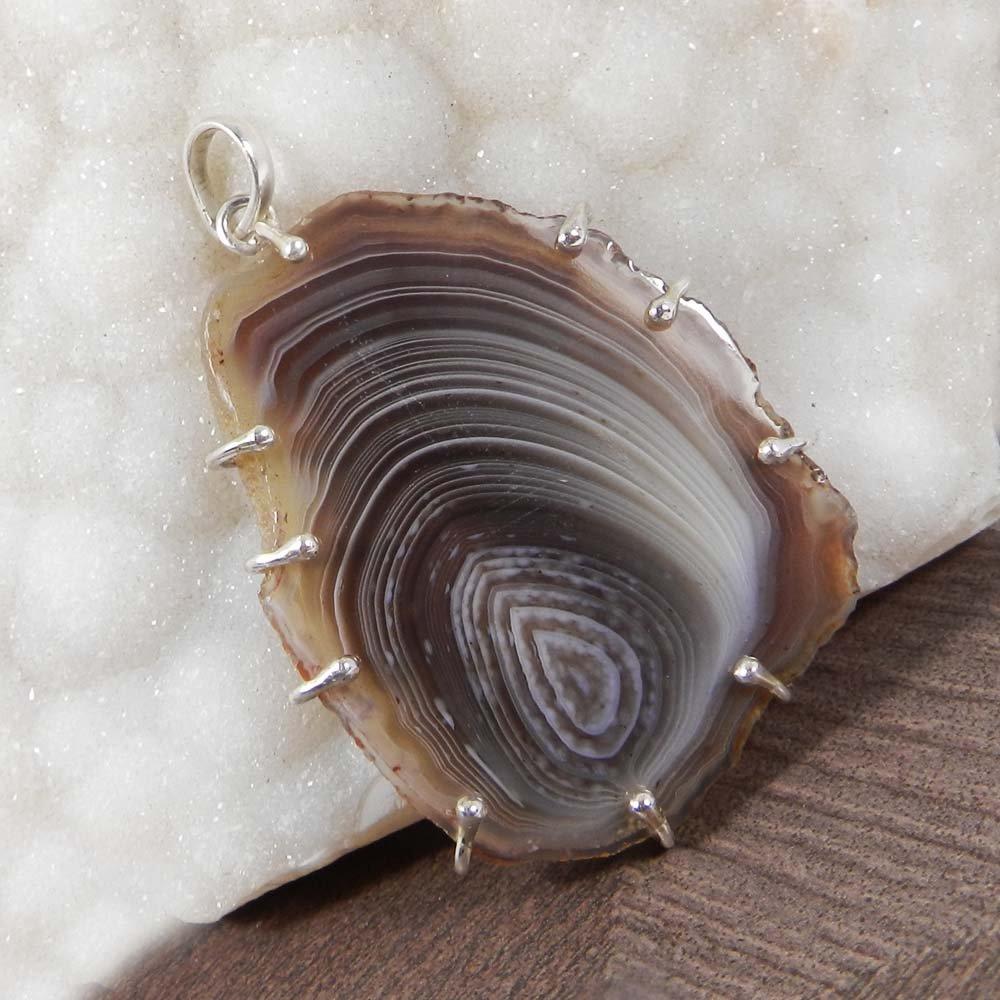 Natural Agate Slice 925 Sterling Silver Designer Prong Set Pendant