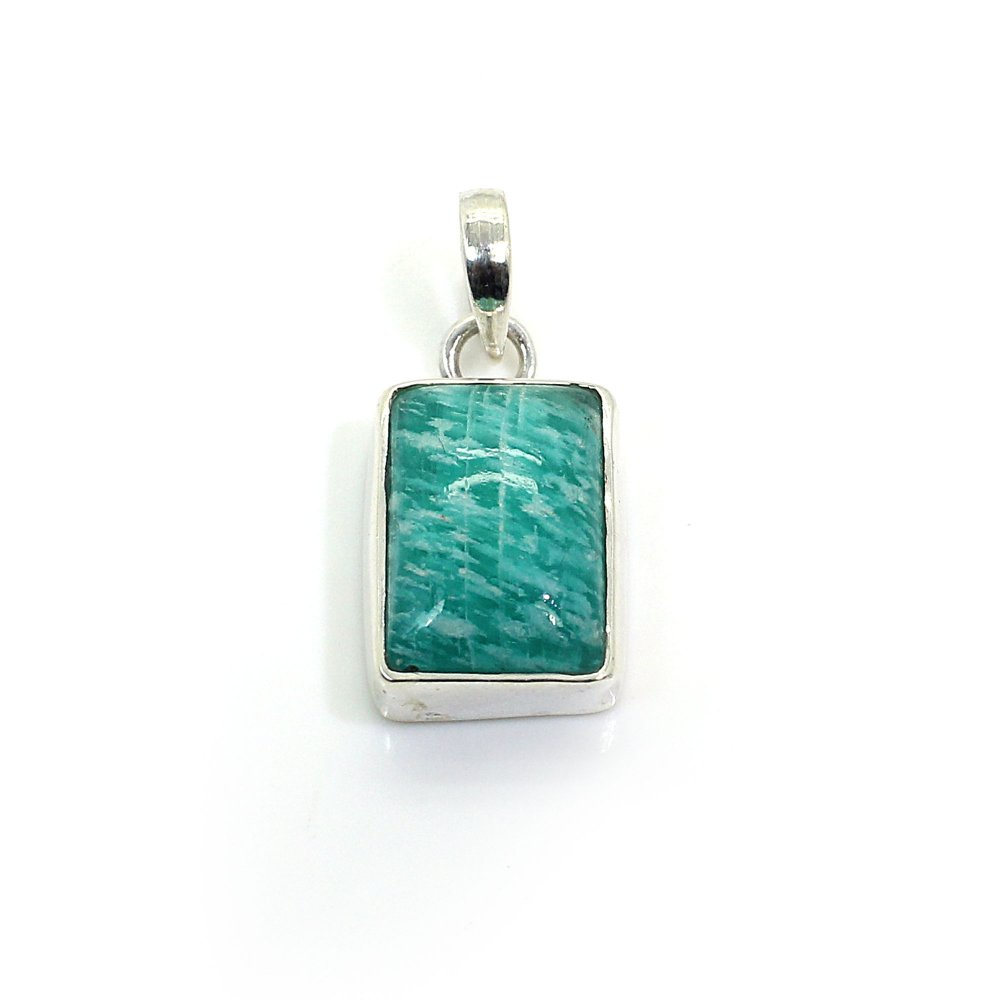 Natural Amazonite 925 Sterling Silver Pendant