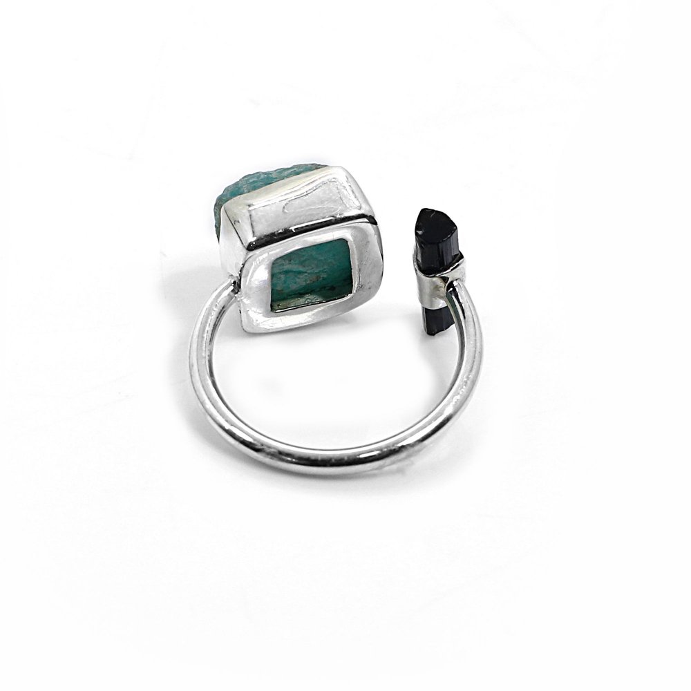 Natural Amazonite and Green Tourmaline Rough Sterling Silver Adjustable Ring