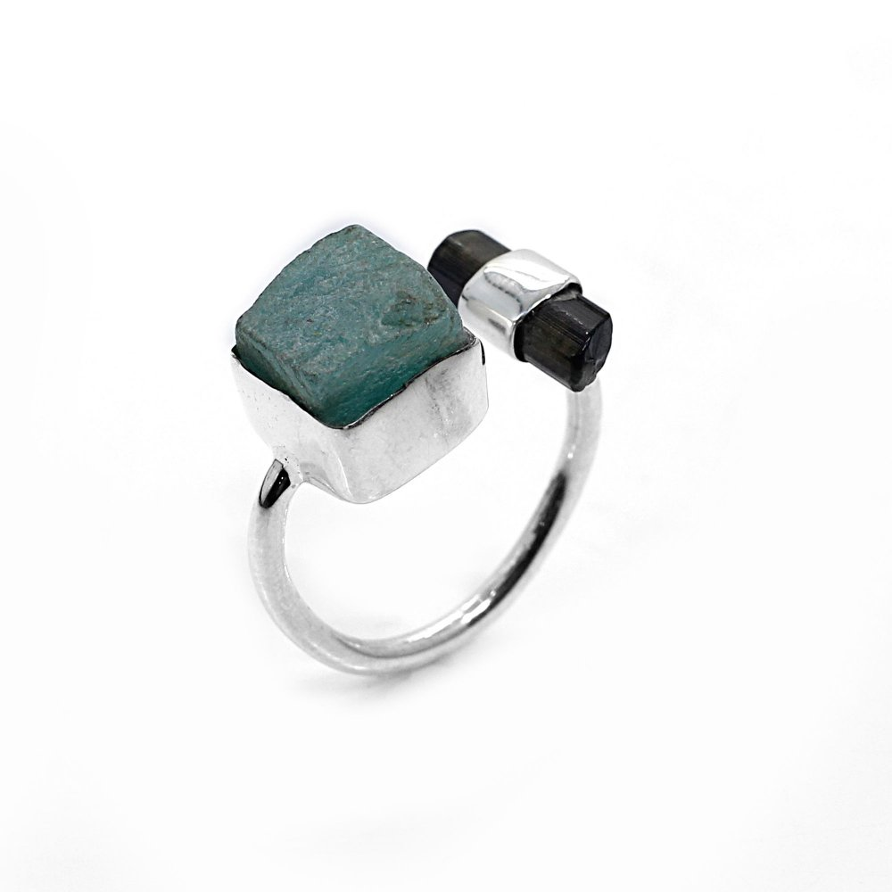 Natural Amazonite and Tourmaline Rough Sterling Silver Adjustable Ring