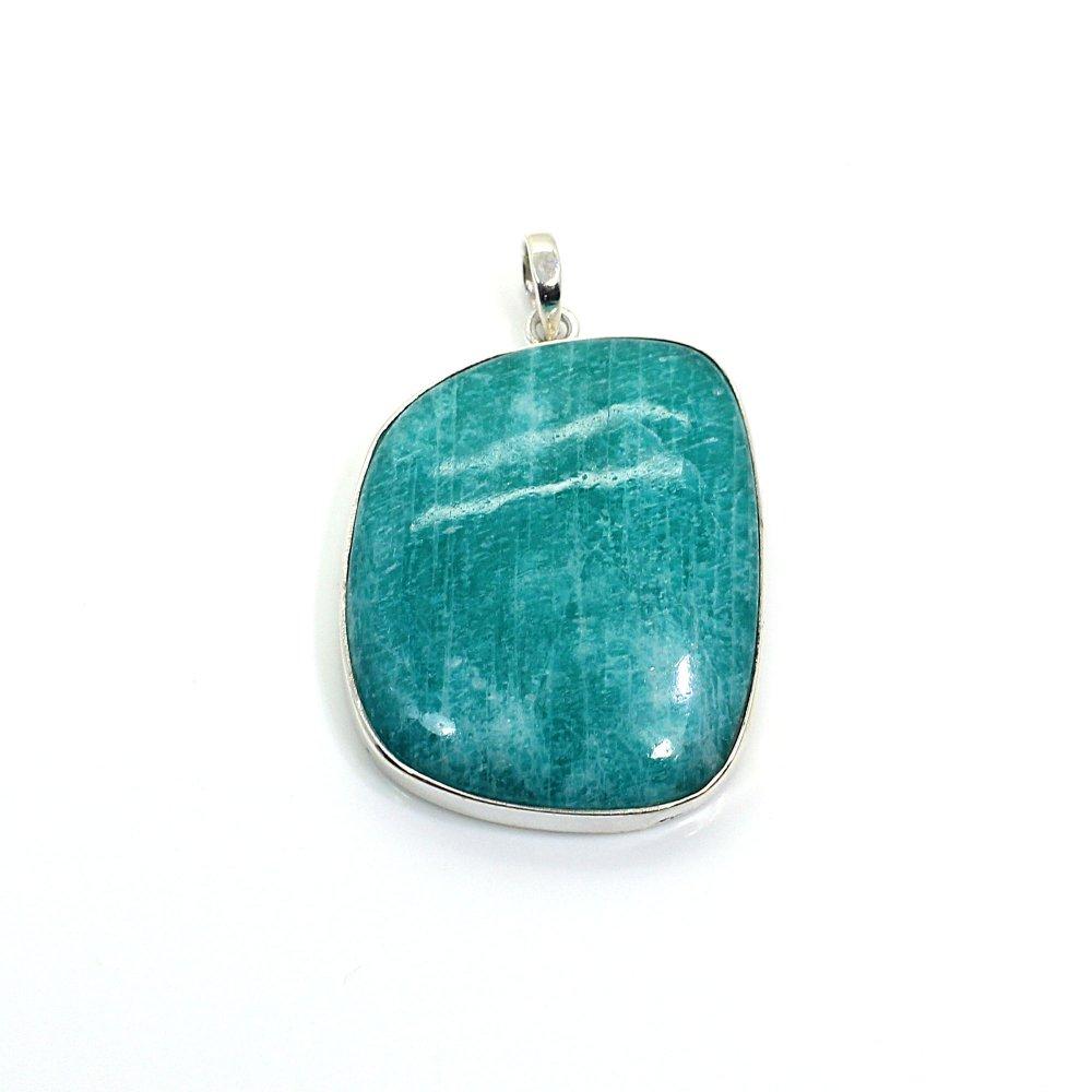 Natural Amazonite Fancy Gemstone Silver Pendant
