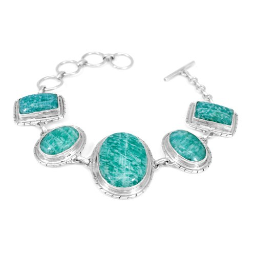Natural Amazonite Gemstone Bracelet Solid 925 Sterling Silver Bracelet Charm Bohemian Bracelet
