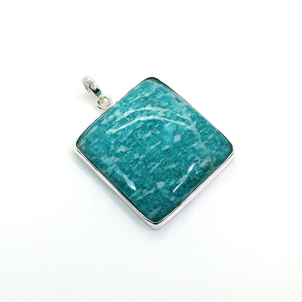 Natural Amazonite Gemstone Silver Pendant