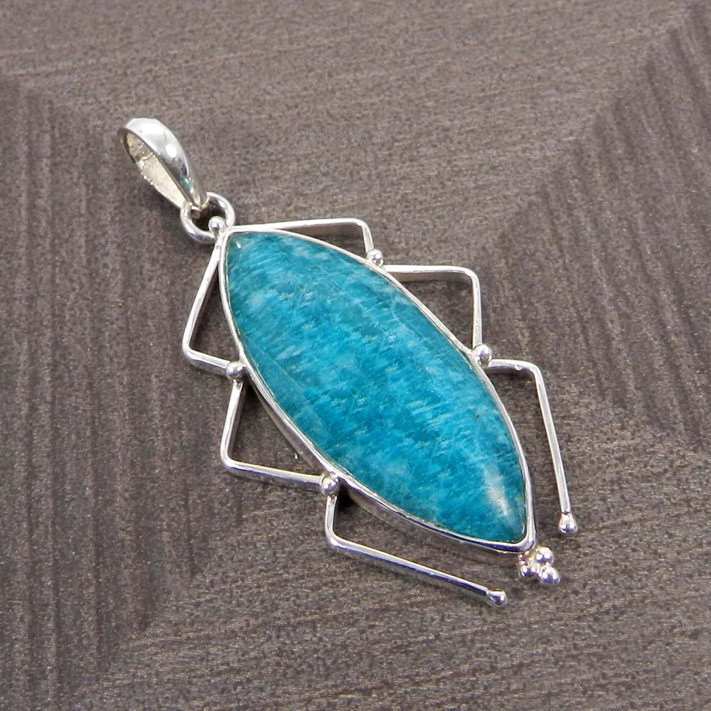 Natural Amazonite Insect Design 925 Sterling Silver Bezel Set Pendant