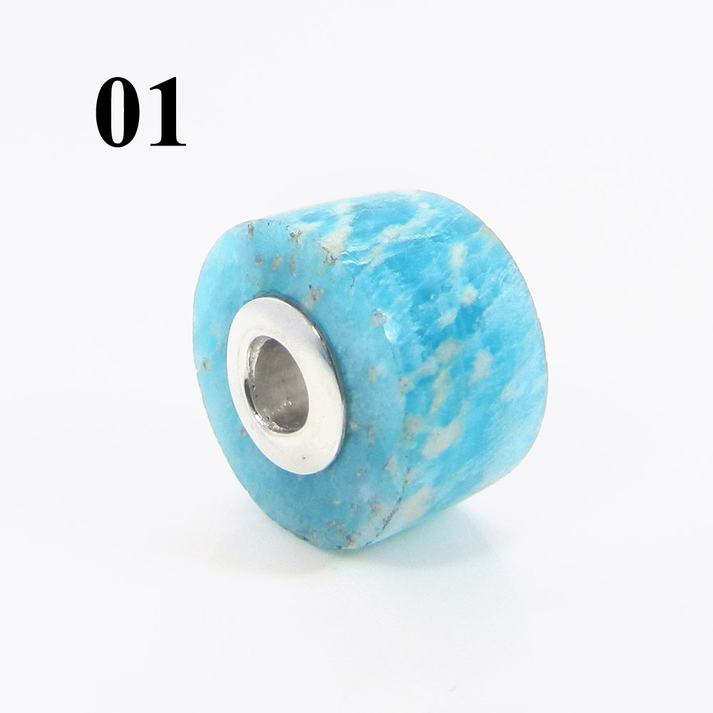 Natural Amazonite Smooth Flat Big Hole Silver Core Beads For Pendant Making