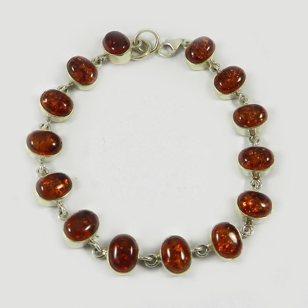 Natural Amber 925 Sterling Silver 7.2 inch Link Chain Bracelet