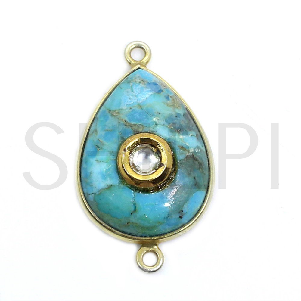 Natural American Turquoise Gold Plated Double Loop Connector