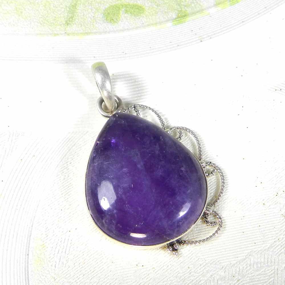 Natural Amethyst 925 Sterling Silver Bezel Set Designer Pendant