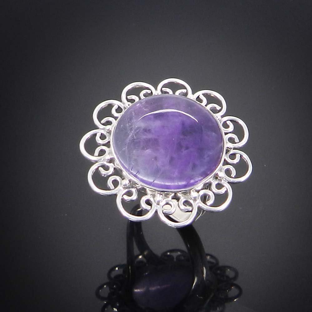 Natural Amethyst 925 Sterling Silver Flower Design Bezel Set Ring