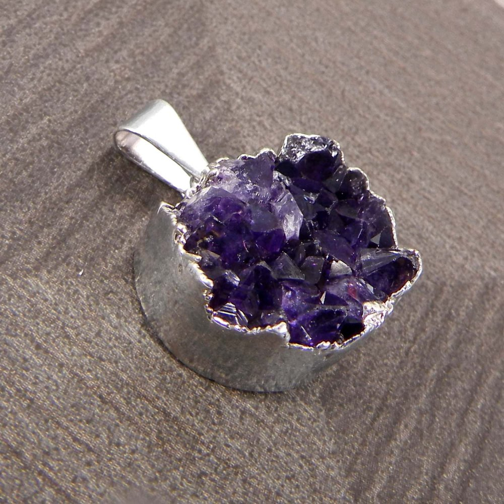 Natural Amethyst Druzy Rough Silver Electroplated Pendant