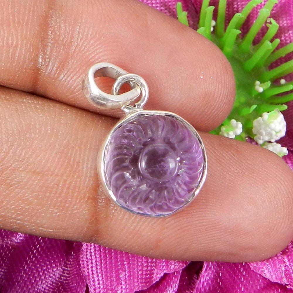 Natural Amethyst Flower Carving 925 Sterling Silver Bezel Set Pendant
