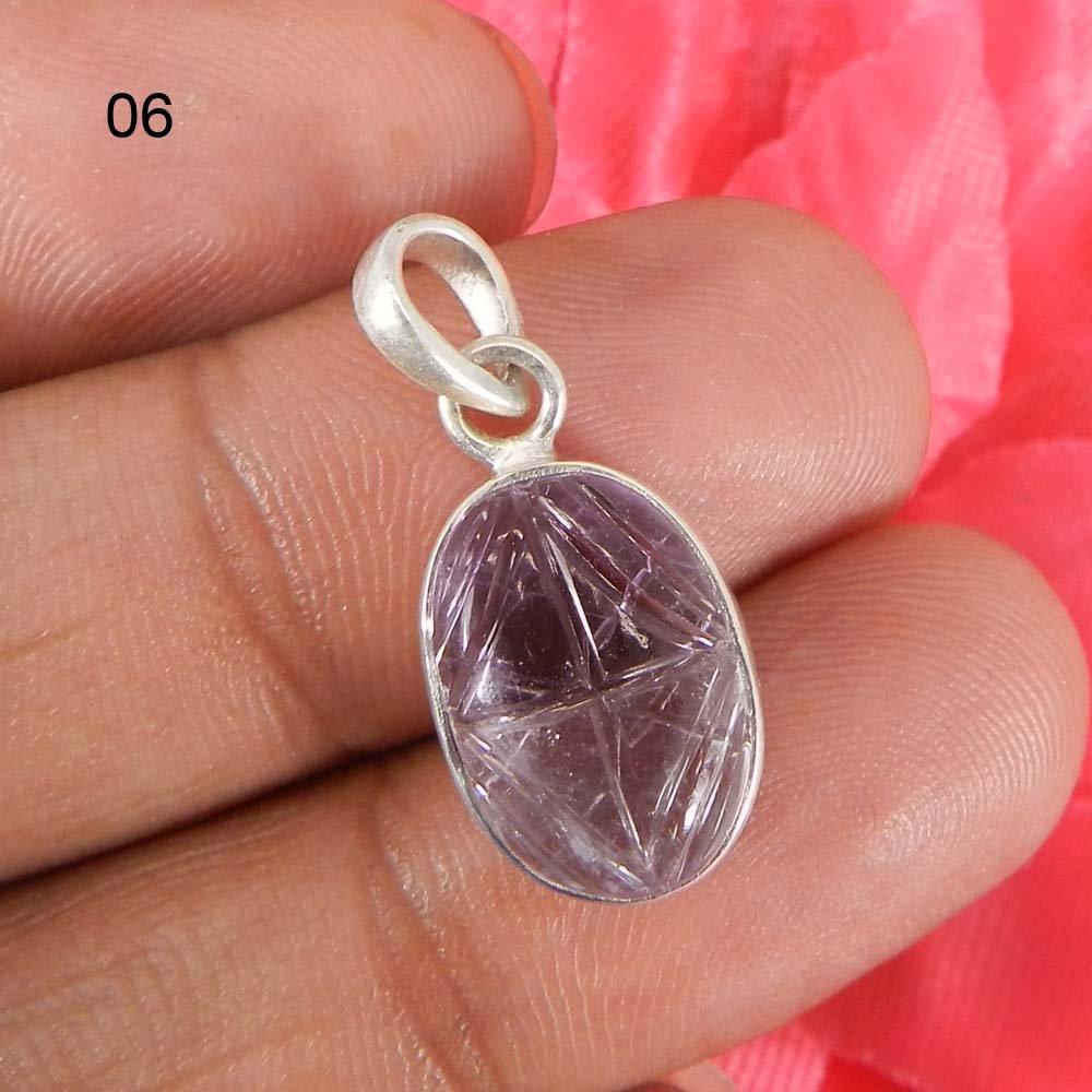 Natural Ametrine Leaf Carving 925 Sterling Silver Bezel Set Pendant