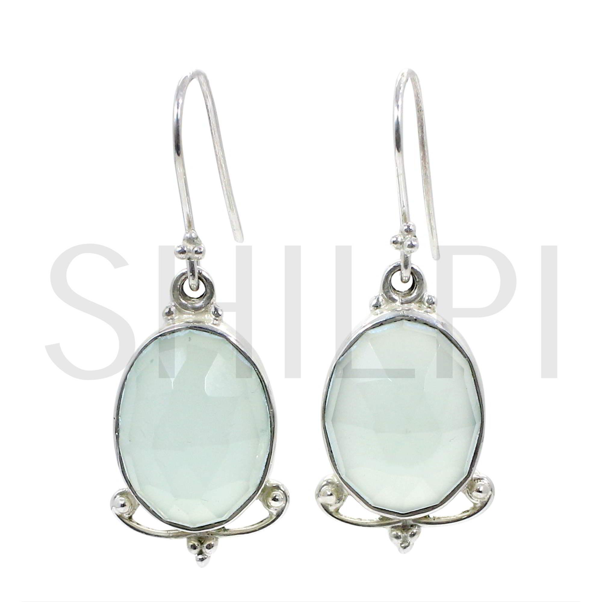 Natural Aqua Chalcedony 925 Sterling Silver Dangle Earrings