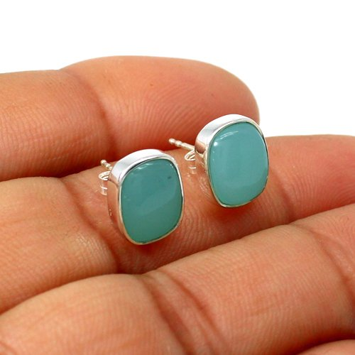 Natural Aqua Chalcedony Earring Solid 925 Sterling Silver Earring Womens Everyday Stud Earring