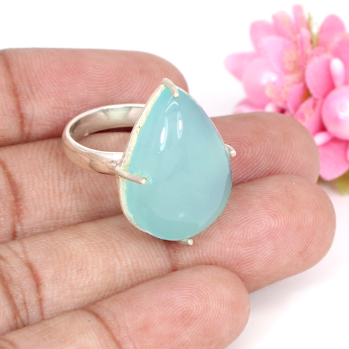 Natural Aqua Chalcedony Gemstone Ring  Solid 925 Sterling Silver Ring Prong Setting Unisex Statement Ring