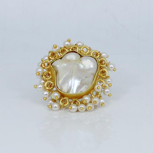 Natural Baroque Pearl & Tiny Pearl Rings Brass Adjustable Ring Bohemian Handmade Ring Vermeil Wedding Women Gift Ring
