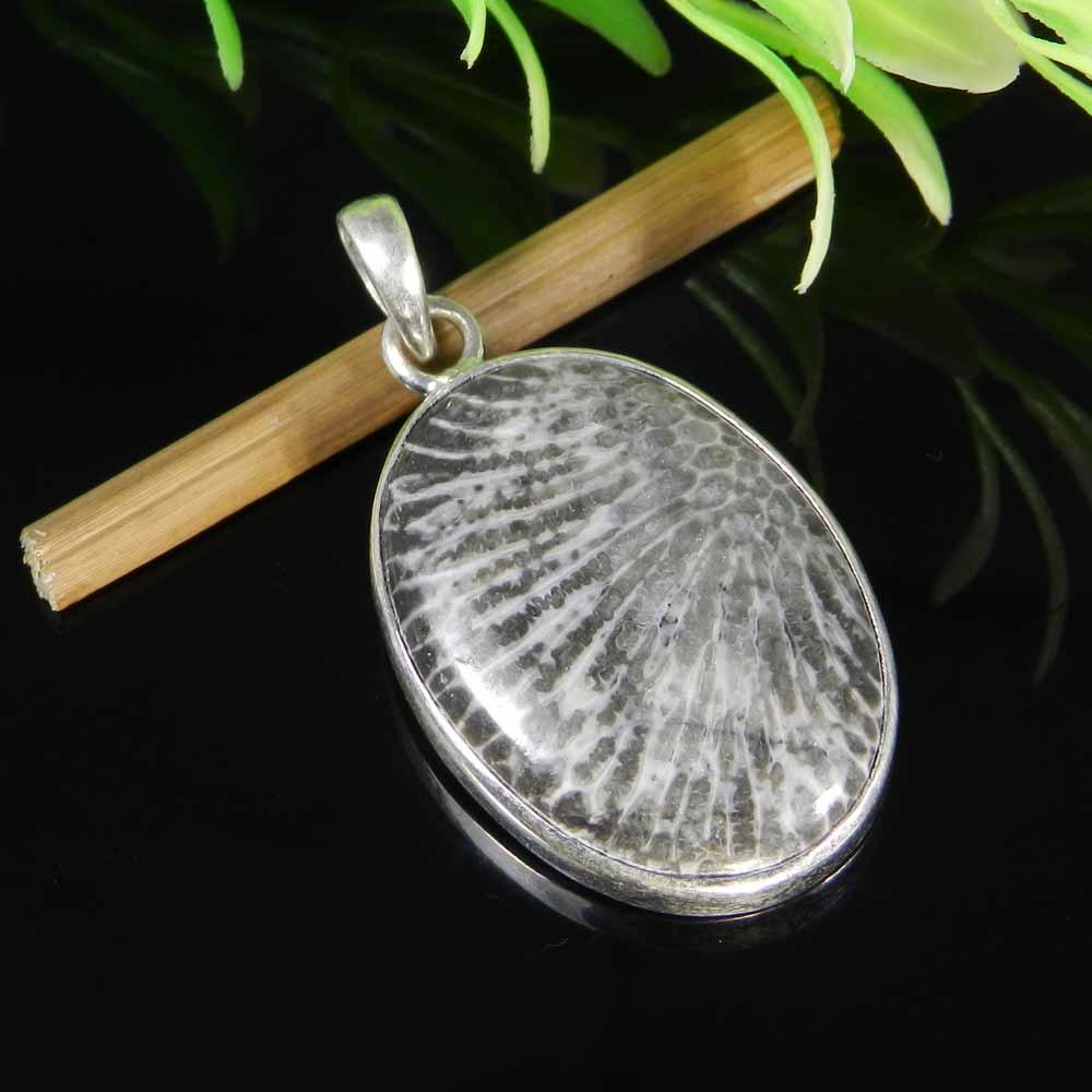 Natural Black Coral 925 Sterling Silver Bezel Set Pendant