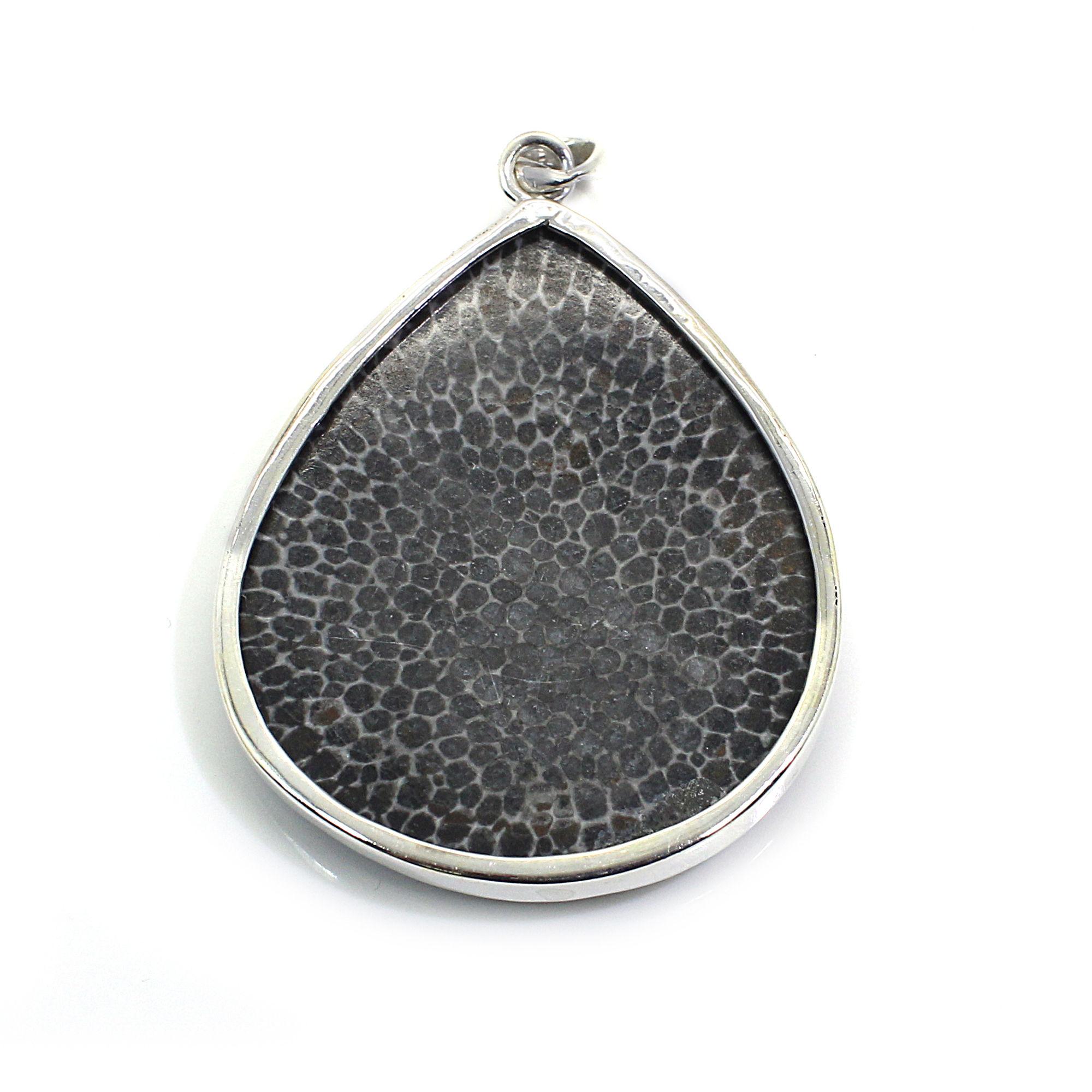 Natural Black Coral Sterling Silver Bezel Set Pendant