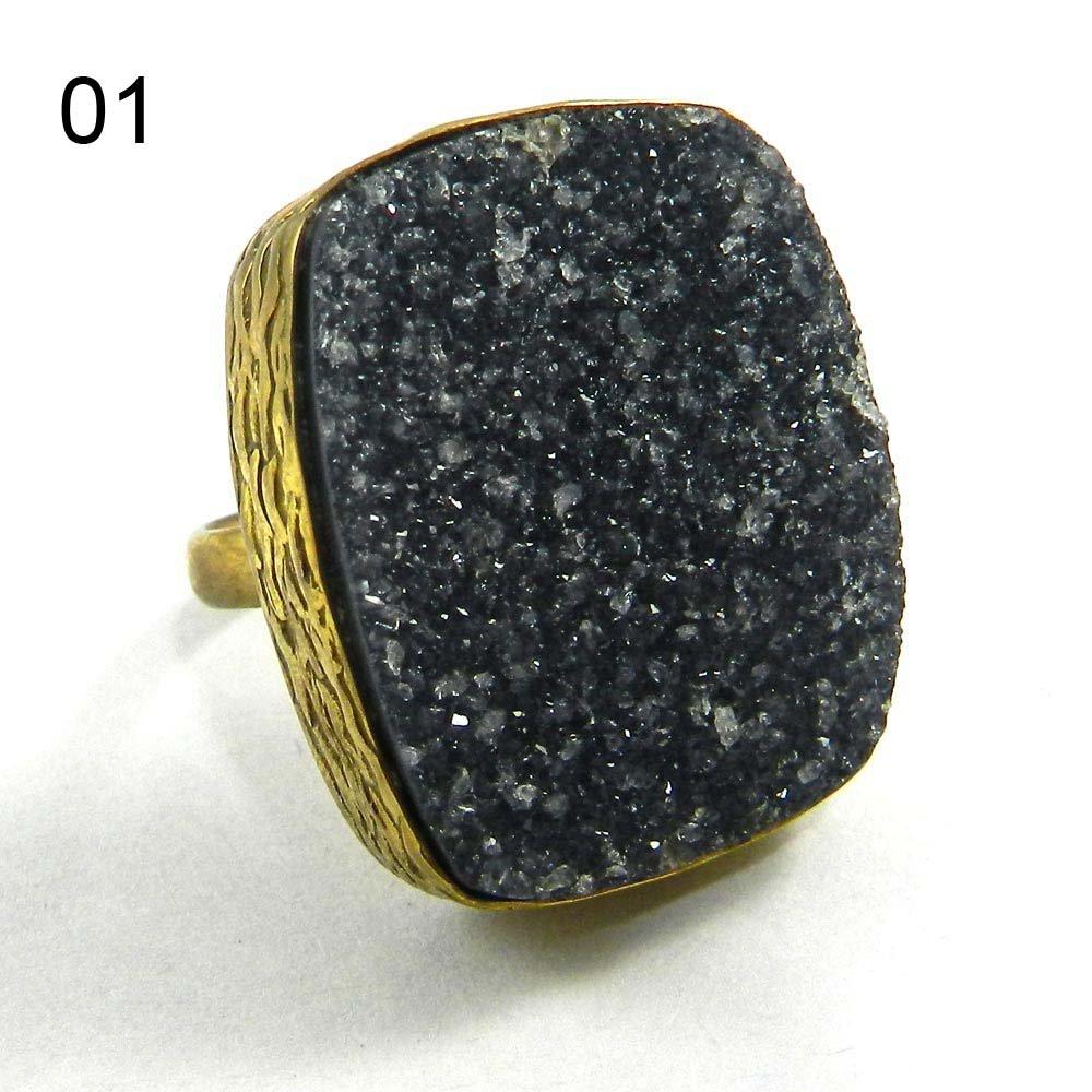 Natural Black Druzy Gold Plated Designer Adjustable Ring