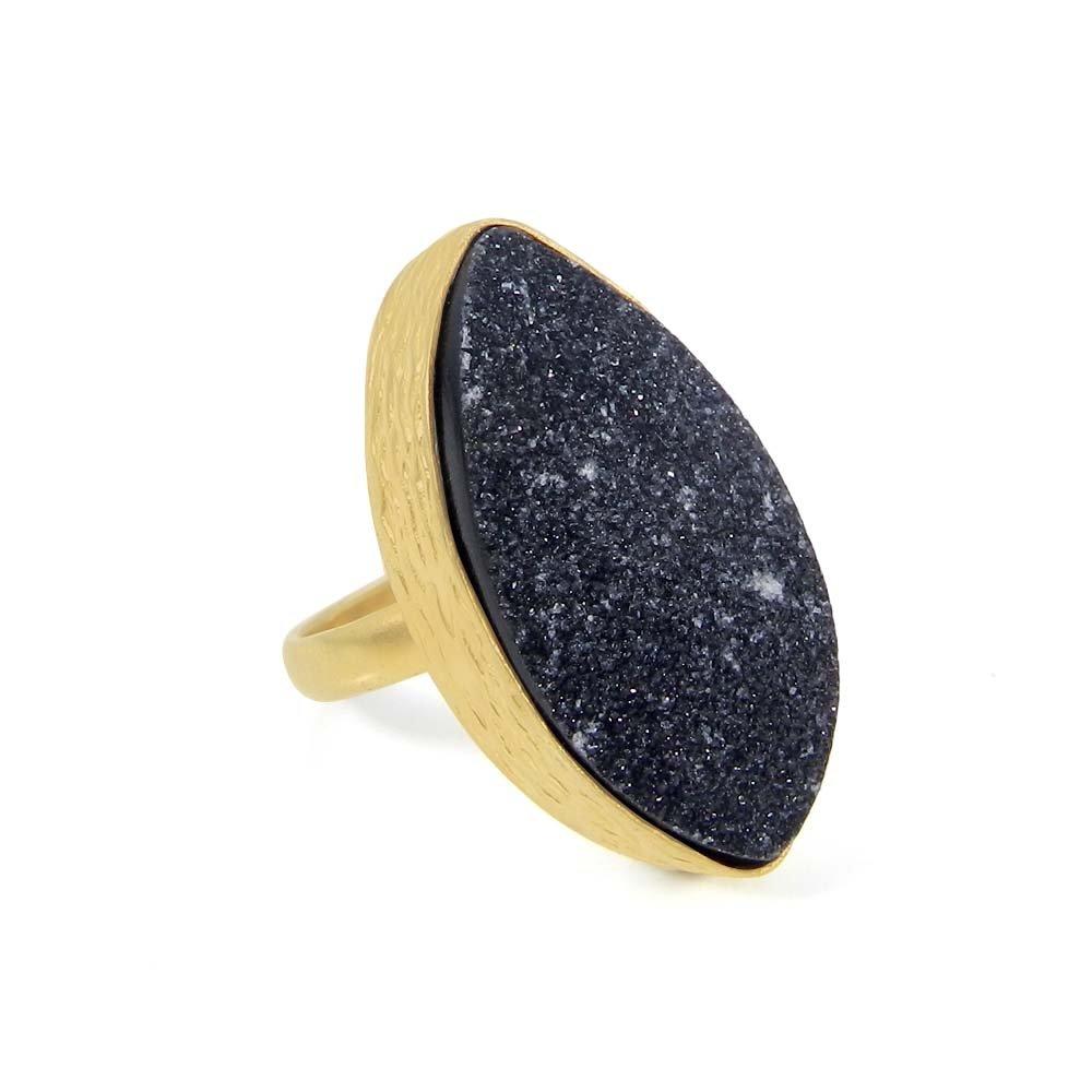 Natural Black Druzy Gold Plated Designer Bezel Set Ring