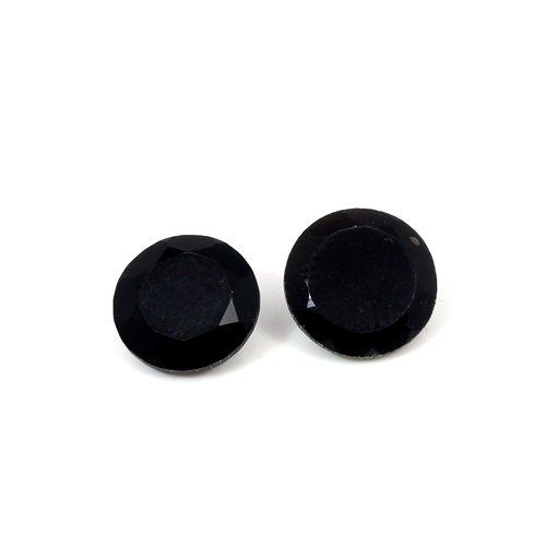 Natural Black Onyx 11X11mm Round Cut 8.2 Cts 1 Pair Loose Gemstone