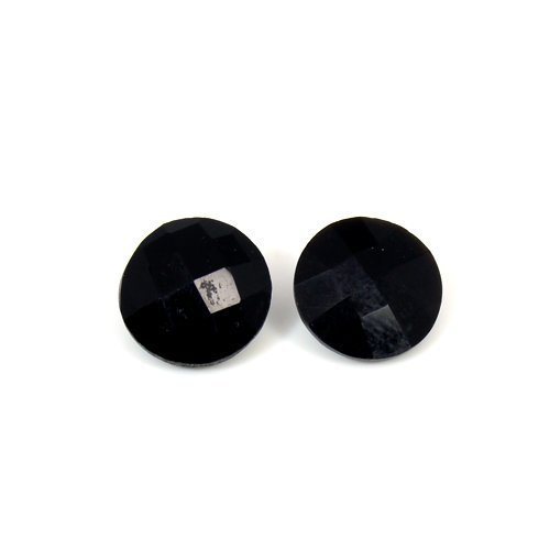Natural Black Onyx 5.50 Cts Round Checker Cut 1 Pair 10x10mm Loose Gemstone