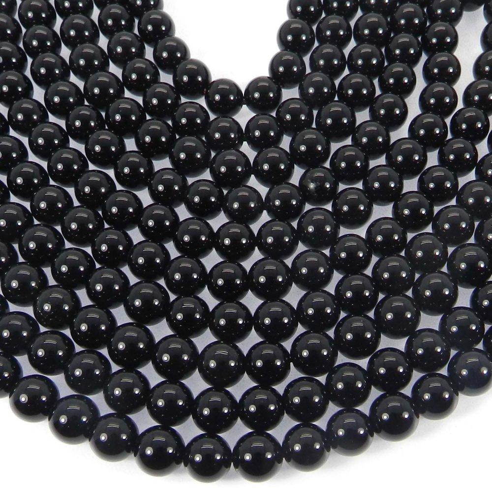 Natural Black Onyx 6mm Round Smooth Gemstone Strand Beads