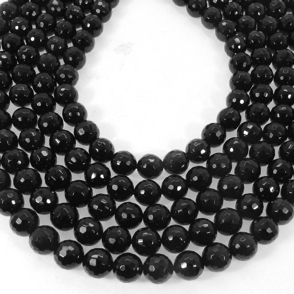 Natural Black Onyx 8mm Round Facet Gemstone Strand Beads